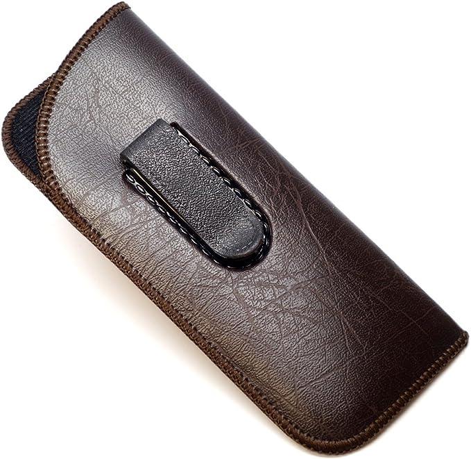 Brown Mens Clip Half Slip Soft Slip In Eyeglass Case