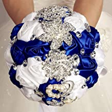 Flonding Wedding Bouquets Crystal Satin Rose Bride Bridal Bouquet Romantic Bridesmaid Holding Flower for Valentine's Day Confession Party Church Decor (Royal Blue White)