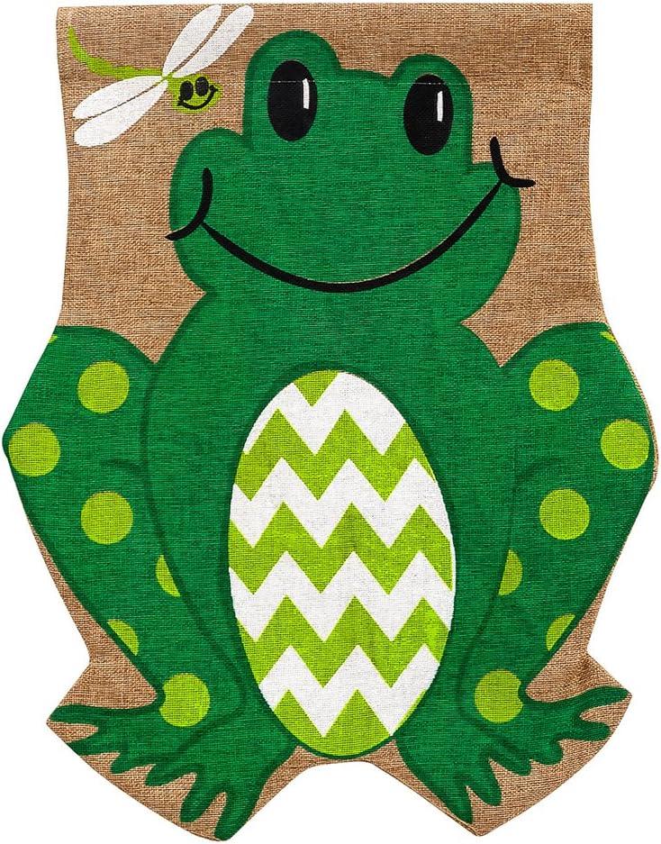 Superior Evergreen Popular standard Flag Friendly Frog Burlap Garden 18 Inch 12.5 - x