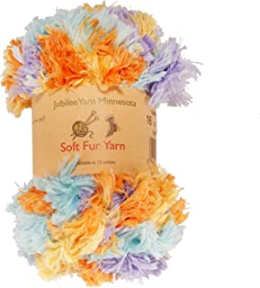 BambooMN Chunky Fluffy Soft Fur Eyelash Yarn - 100% Polyester, Caribbean Beach, 2 Skeins