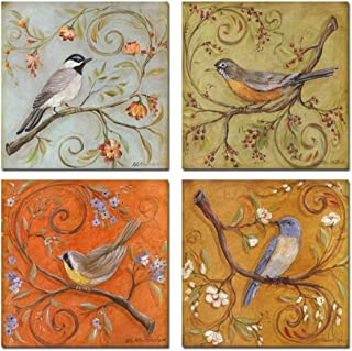 sechars - Gallery Wrapped Canvas Wall Art Set of 4 Birds on Tree Branch with Blooms Painting Print on Canvas Animal Canvas Art Bird Flower Wall Pictures for Home Bedroom Decor