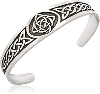 Irish Celtic Knot Cuff Bracelet with Irish Design Pewter Jewelry