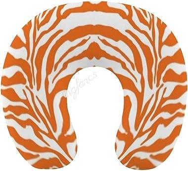 Chin Supporting Travel Pillows- Animal Print Zebra Print Orange,Memory Foam Travel Pillow/ Neck Pillow for Pain Relief Sleepi