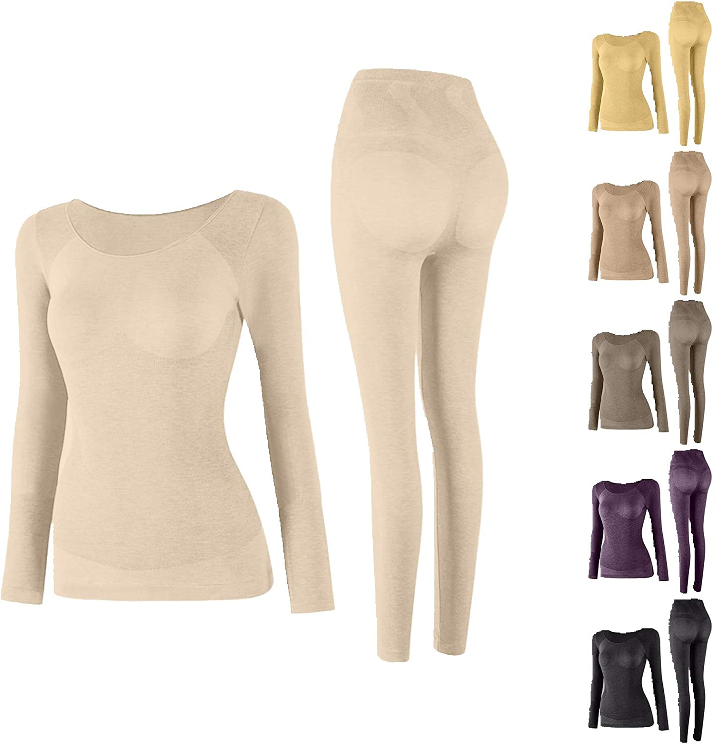 Padaleks Women Thermal Underwear Set Seamless Elastic 2 Piece Pajama Outfits Top & Leggings Thermals Inner Wear Ultra-Thin Autumn Clothes Body Shaping