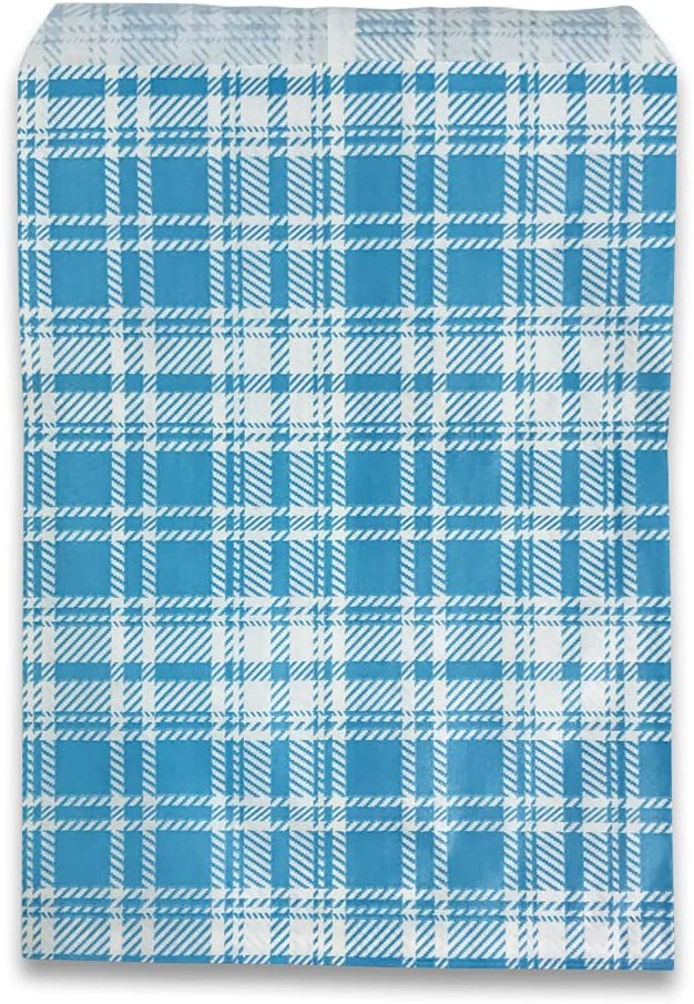 """100 pcs of 8 At the price surprise 1 2"""" x Paper Plaid-Blue Bags 11"""" Max 52% OFF Gift âÂ"""