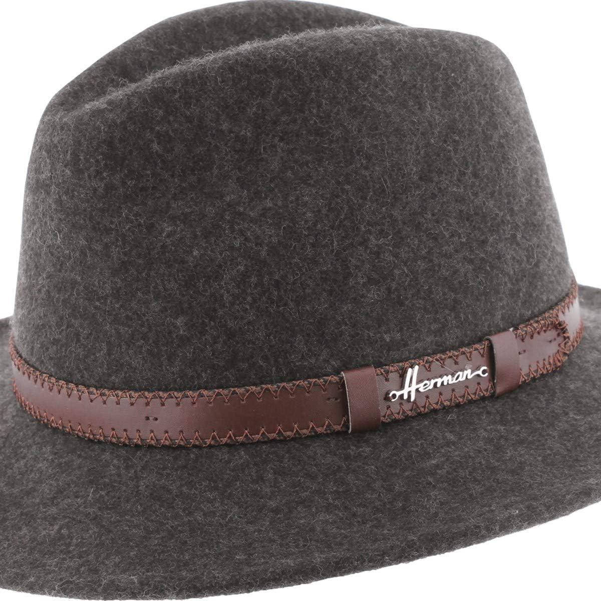Herman Headwear Chapeau Feutre de Laine Grand Bord Ceinture Mac Lorca