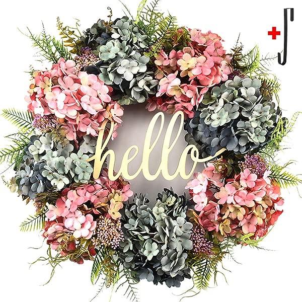 Hello Wreath For Front Door Handmade Hydrangea Wreath Letter Wreaths For Front Door Fall Wreath Farmhouse Door Wreaths Grapevine Wreath Spring Summer Wreaths For Front Door Everyday Wreath 21 Inches