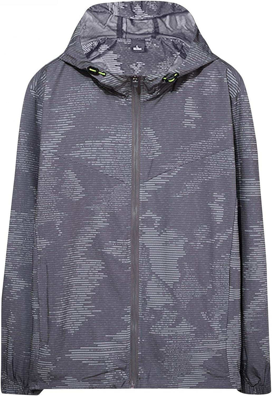 Men's Mountain Waterproof Jacket Fashion Printed Hood Raincoat Windproof Rain Jacket Zipper Long Sleeve Sportswear Outwear
