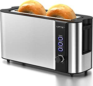 Long Slot Toaster, 2 Slice Toaster Best Rated Prime with Warming Rack, 1.7'' Extra Wide Slots Stainless Steel Toasters, 6 Bread Shade Settings, Defrost/Reheat/Cancel, Removable Crumb Tray, 1000W
