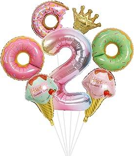 بالونات الكعك والآيس كريم لحفلة عيد الميلاد الثانية، ديكورات حفلات عيد الميلاد للفتيات.