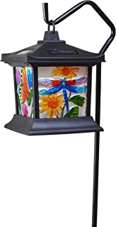 Moonrays 92276 Solar Powered Hanging Floral Stained Glass LED Lantern, 24-Inch Above..