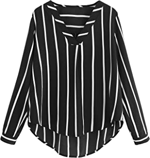 Women's V Neck Long Sleeve Striped Chiffon Blouse Top