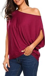 UNibelle Women's Off Shoulder Blouse Loose Batwing Sleeve Tops