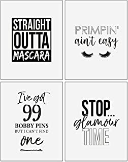 Confetti Fox Make Up Lover Gift Wall Art Decor - 8x10 Unframed - Set of 4 Metallic Pearl Prints - Funny Quotes Sayings Rap Hip-Hop Themed Bathroom Bedroom Dorm Decoration