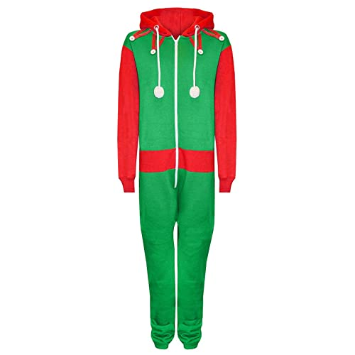 b6e8838a01 New Unisex Mens   Womens Festive Red Santa and Green Elf Novelty Christmas  Ladies Onesie Jumpsuit