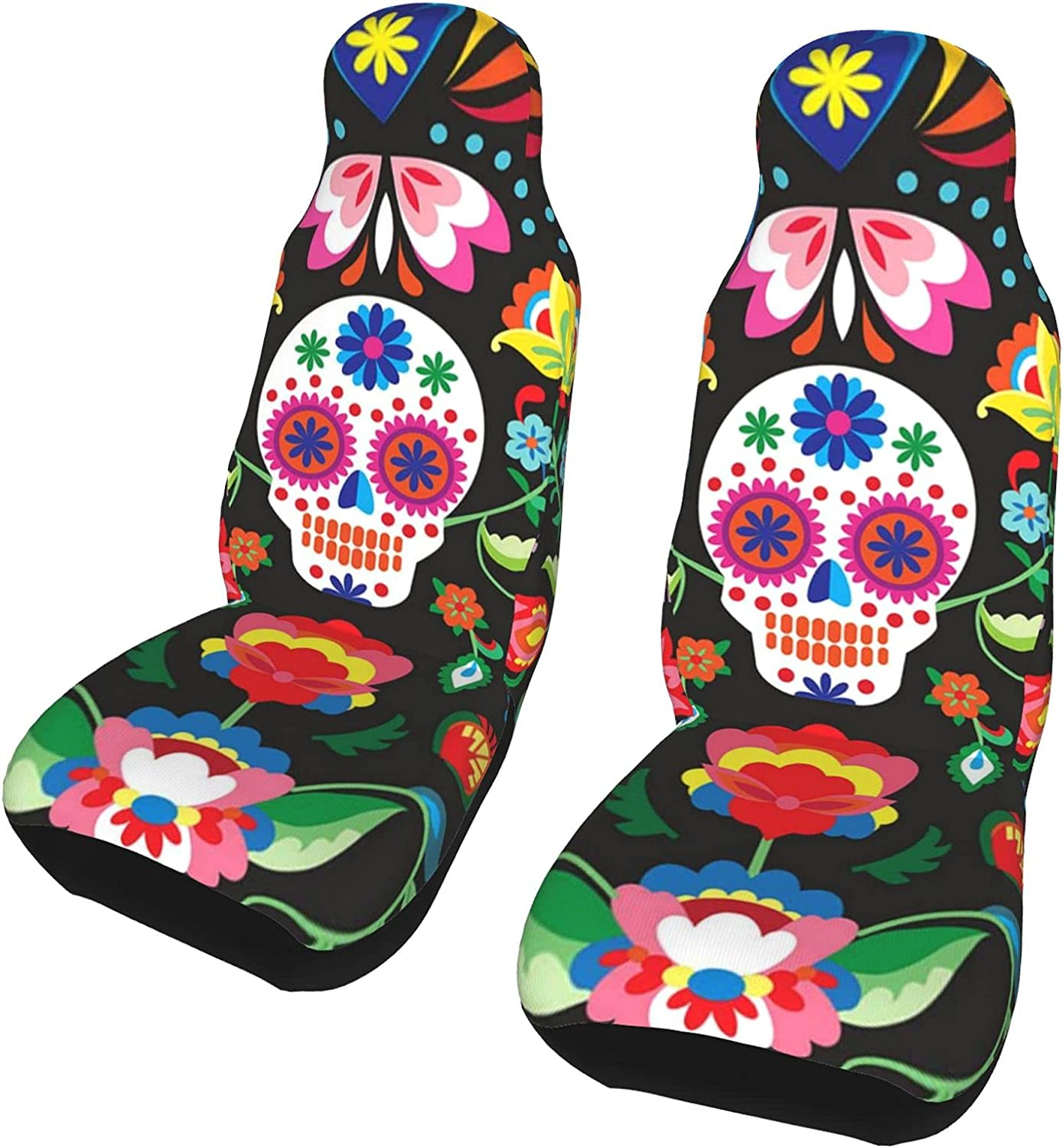 Max 47% OFF Inrubie Flower Skull of Mexican Popular product 2 Seat Pcs Front Covers Car