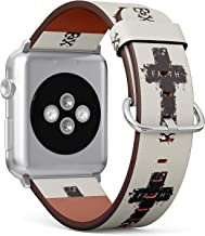 (Christian Cross with a Skull and Cross-Bones with Word Faith) Patterned Leather Wristband Strap for Apple Watch Series 4/3/2/1 gen,Replacement for iWatch 38mm / 40mm Bands