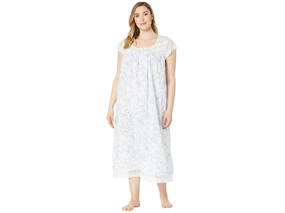 Eileen West Plus Size Cotton Woven Lawn Ballet Cap Sleeve Nightgown (White Ground Floral) Women