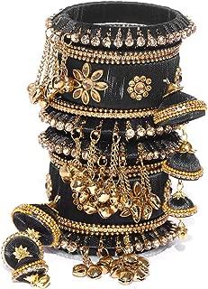 Vishal-Vatika Indian Fashionable Silk Thread Party Wear Bangle for Women Bracelet/Kada Set