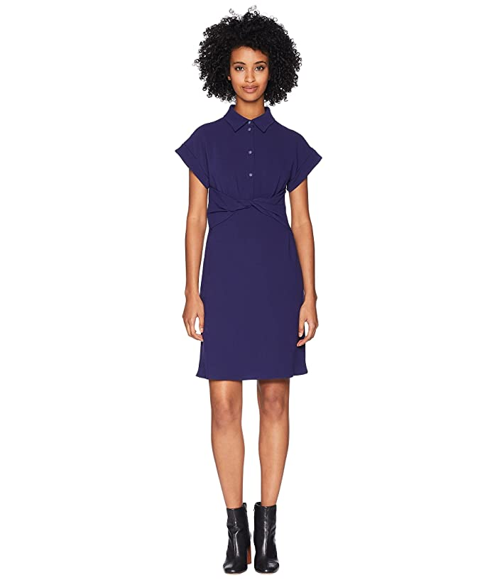 Boutique Moschino Crepe Dress with Knotted Waist (Blue) Women