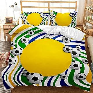 QQMHG Parure de lit pour garçon - Motif football - Housse de couette de 135 x 200 cm - Avec 1 taie d'oreiller de 50 x 75 c...