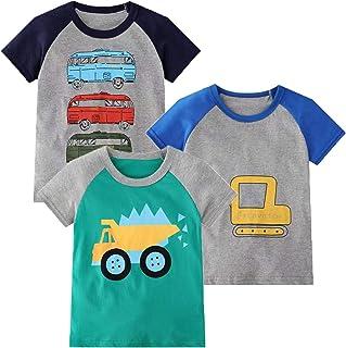 Camiseta infantil, manga larga, para niños, de algodón, informal, cálida, con estampado de dinosaurio en diseño de dibujos...