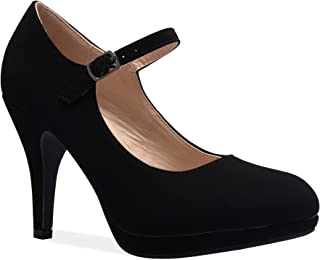 OLIVIA K Women's Mary Jane High Heel - Cute Round Toe...