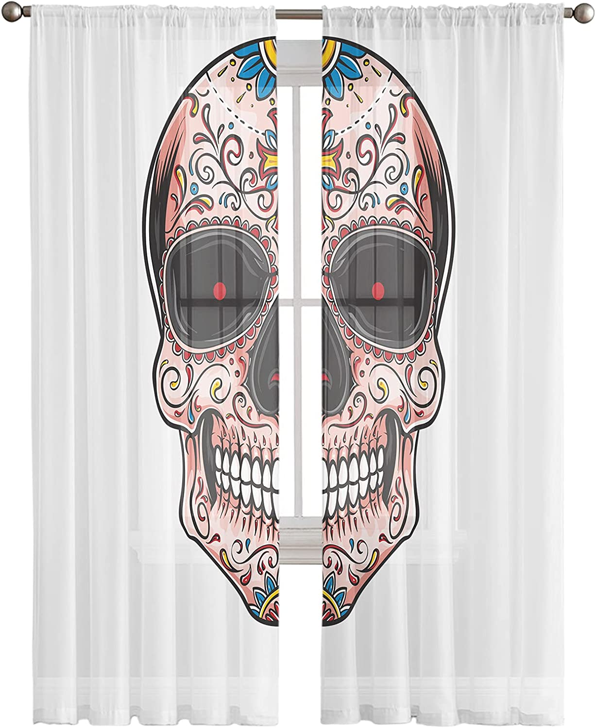 Sheer Curtains 72 Inches Long 2 Tattoo Skull Panels Desi depot Floral free shipping