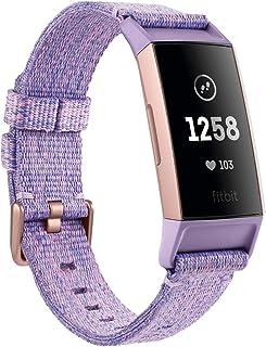 Fitbit Charge 3 Pulsera Avanzada de Salud y Actividad física, Unisex-Adult, Textil Lavanda/Aluminio Color Oro Rosa, Talla Unico
