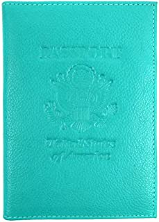 RFID Genuine Leather American Eagle Embossed Passport Wallet Holder Case (Turquoise)