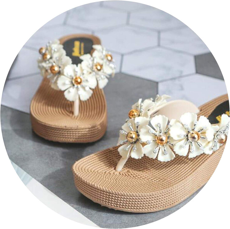 Heat-Tracing 3D Flowers Platform shoes Woman Sweet Floral Beach flip Flops Soft Heels Rivets Slippers Ladies Outing Comfort Sandals