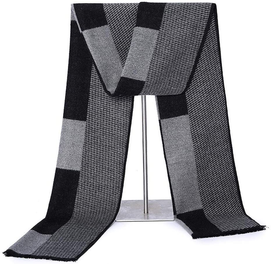 Scarf warm winter European classic outdoor fashion spell color scarves scarves comfortable and practical classic elegant men's fall and winter warm soft j1011 ( Color : Strip gray , Size : Onesize )