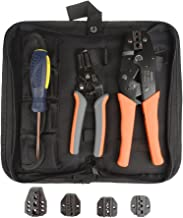 IWISS 5 interchangeable Jaws Crimping tool kit with FREE Wire Striper&Cutter for Insulated and Non-Insulated Terminals 0.5-35mm ² Oxford bag packing
