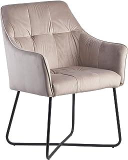 Wohnling Silla de comedor de terciopelo beige, silla de cocina con patas negras, silla de plástico y metal, silla tapizada de diseño, silla de comedor tapizada