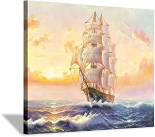 Hardy Gallery Nautical Ocean Picture Sailboat Artwork: Sailing in Sea Art Painting on Canvas for Living Rooms Office(24''X18'')