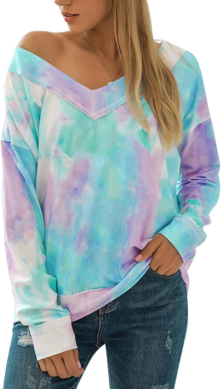 Blooming Jelly Women TieDyeSweatshirt PulloverLooseFittingTops ColorBlock CrewNeck LongSleeveShirts