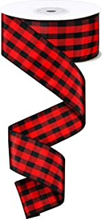 25 Yards 1.6 Inches Wide Red and Black Plaid Ribbon Christmas Wired Ribbon Wrapping Ribbon Burlap Check Wired Ribbon for Christmas Crafts Wedding Decoration