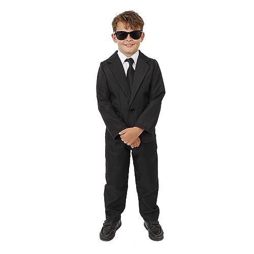 ec45a6fed84 CHILDS SECRET AGENT FANCY DRESS COSTUME - BLACK SUIT PLUS SUNGLASSES FOR  CHILDREN - 2 PIECE