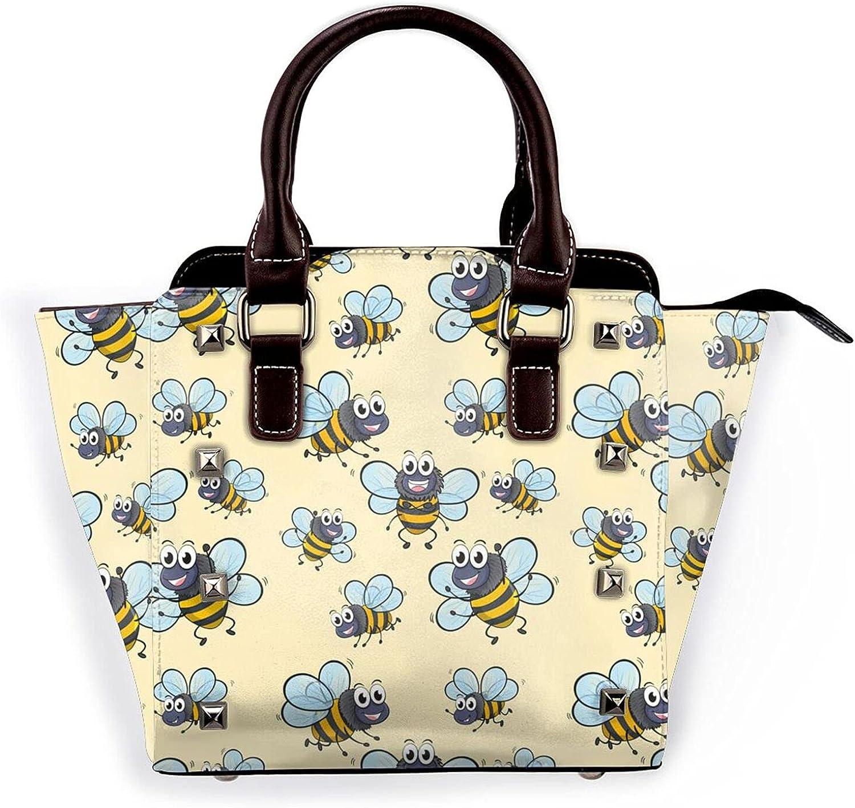 Cute Bee Flying Leather Rivet Purse New mail order Cheap sale Shoulder Microfi Bag Handbag