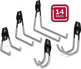 Garage Storage Hooks Heavy Duty – Wall Mount Garage Organization Utility Hooks and Hangers Anti-Slip Coating Tool Hooks for Organizing Ladders, Bikes, Power Tools, Shovels and Strollers 14 Pack