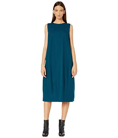 Eileen Fisher Boiled Wool Jersey Round Neck Calf Length Lantern Dress (Blue Spruce) Women