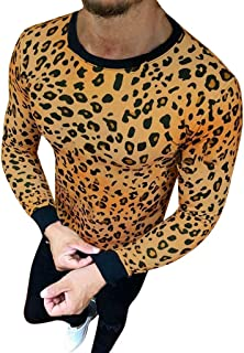 Blouse Men's Leopard Print Top Beefy Muscle Basic Solid Shirt Long-Sleeve Tee