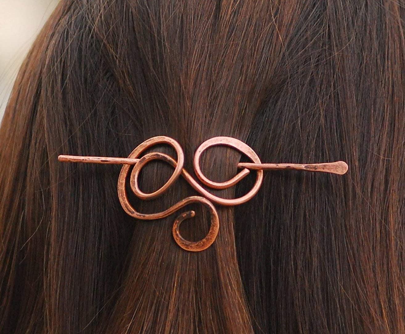 Copper celtic shawl pin Scarf pin Sweater brooch Hair pin Hammered Hair pin Hair stick Hair pick Wire wrapped brooch Bun Holder Hair slider