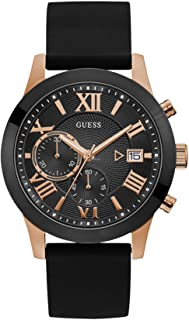 GUESS Men's Atlas 45mm Black Silicone Band Steel Case Quartz Analog Watch W1055G3