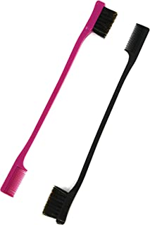 Foxi Fresh Double Sided Edge Control Hair Brush Comb Combo Pack 2 Pieces Pink and Black