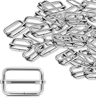 Alcoon 30 Pieces Slide Buckle 1 inch Metal Triglide Slides Rectangle Adjustable Webbing Slider for Purse Making Bag Making Suspenders Making DIY Accessories Silver