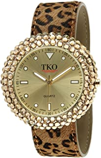 TKO Women's Crystal Slap Watch with Crystal Studded Case & Colorful Leather Wrist Strap