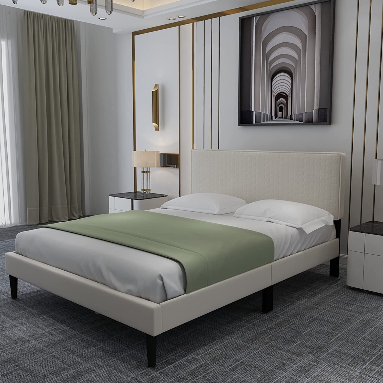 Upholstered Platform Bed Frame Spring new work one after Regular dealer another with Suppo Headboard Slats Wooden