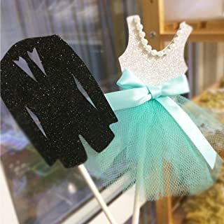 Da Jia 5 Sets Wedding Tiffany Blue Dress and Suit Cupcake Decorating Toppers(5 Sets Wedding Cupcake Toppers)