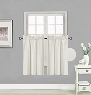 Elegant Home 2 Panels Tiers Small Window Treatment Curtain Insulated Blackout Drape Short..